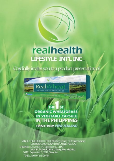 RealHealth, The 1st Organic Wheatgrass in vegetable capsule in the Philippines