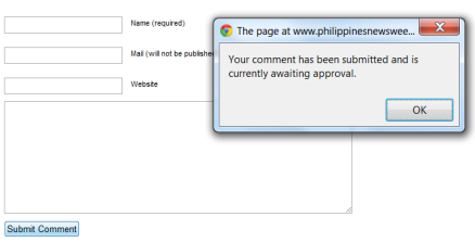 An empty comment but approved by Philippine News Weekly