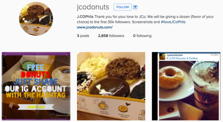 JCO Donuts FAKE Instagram Account